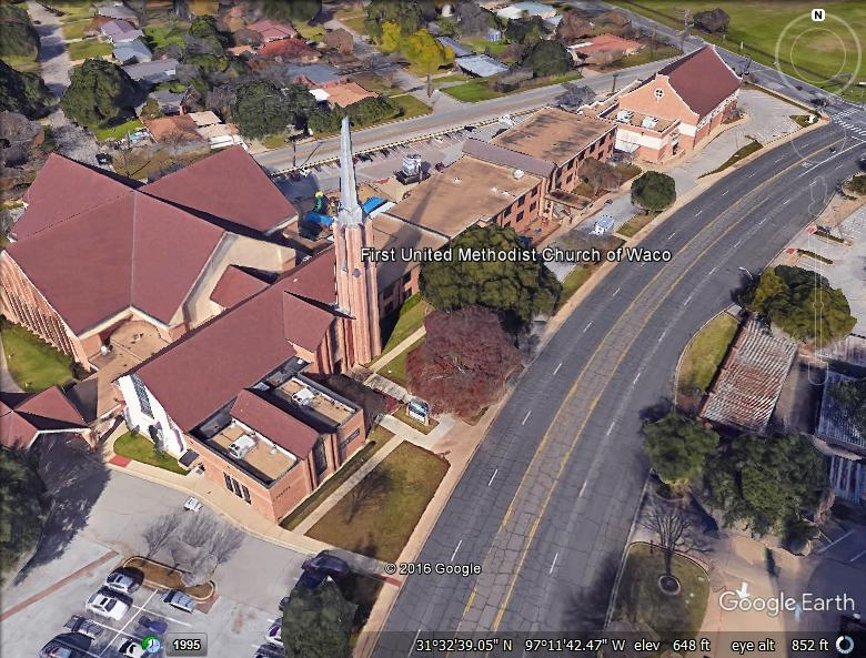 First United Methodist Church Waco - Built-Up Asphalt Roofing System & Copper Steeple Flashing